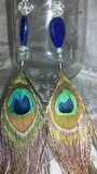 PEACOCK FEATHER.925Earrings w/NATURAL Sapphire6/18 in Perry, Georgia