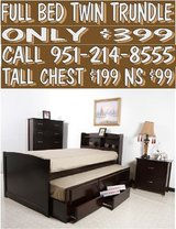 FULL SIZE TRUNDLE BED WITH DRAWERS in Riverside, California