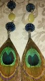 PEACOCK FEATHER W/Wood&Mint Crystal EARRING in Perry, Georgia