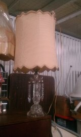 Vintage Crystal Table lamp with original shade etc in Chicago, Illinois