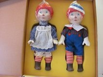 "Porcelain Raggedy Ann and Andy 16"" made by Ideal Circa 1983 in Kingwood, Texas"